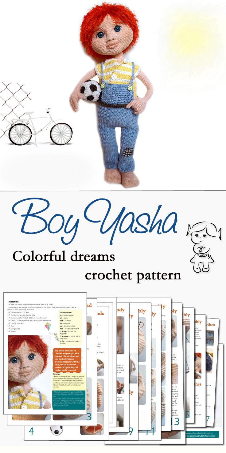 #crochet #boy #yasha #pattern #amigurumi #häkeln #puppe #doll #colorfuldreams
