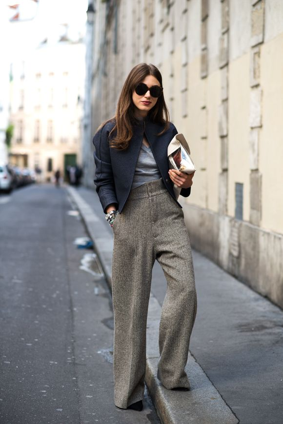 The locals in Paris. high waisted trousers