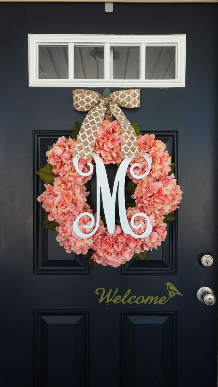 Spring Wreath, Hydrangea Wreath, Monogram Wreath, Summer Wreath, Coral Pink, Front Door Wreath, Mother's Day, Wedding Decor, Floral Wreath by SimplySundayShop on Etsy https://www.etsy.com/listing/265300319/spring-wreath-hydrangea-wreath-monogram