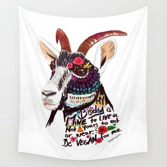 Vegán feliratos, kecskés fali zászló – VegaNinja Webshop