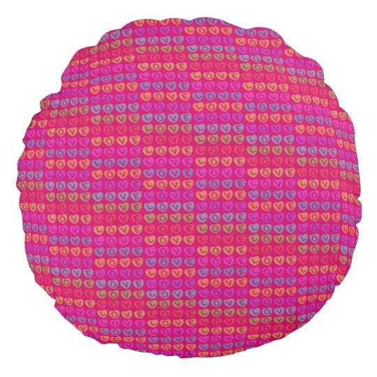 LOVE Round Throw Pillow by www.zazzle.com/htgraphicdesigner* #zazzle #gift #giftidea #round #throw #pillow #cushion #love #pink #homedecor