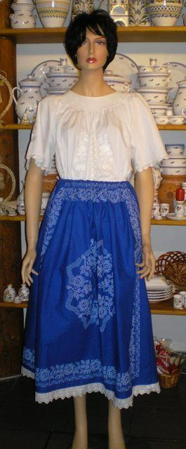 Hungarian blue folk skirt for woman.