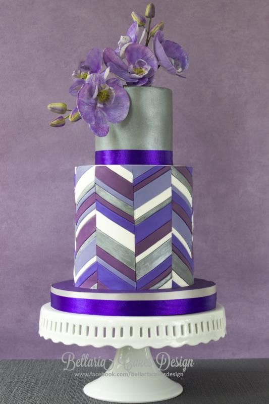 Purple chevron double barrel cake