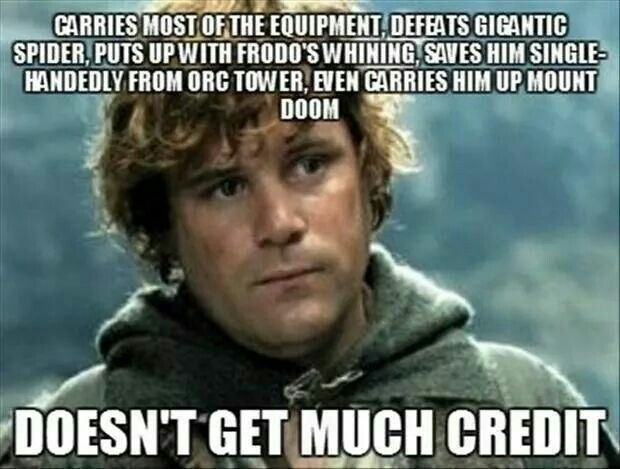 Samwise Gamgee...Exactly. Frodo was just the box that carried the ring. Sam carried the box.