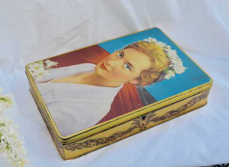 GORGEOUS GRACE KELLY Tin Hinged Chocolate Box by Jacques Chocolate Box Belgium Vintage Biscuit Cookie Tin Retro Blue Gold by StudioVintage on Etsy