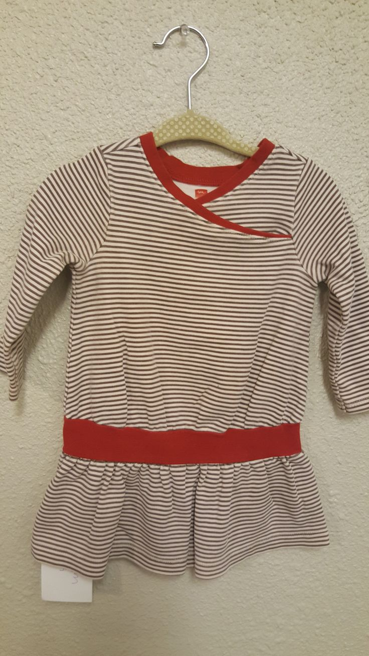 Tea Striped Dress with Red Trim Size 12-18m