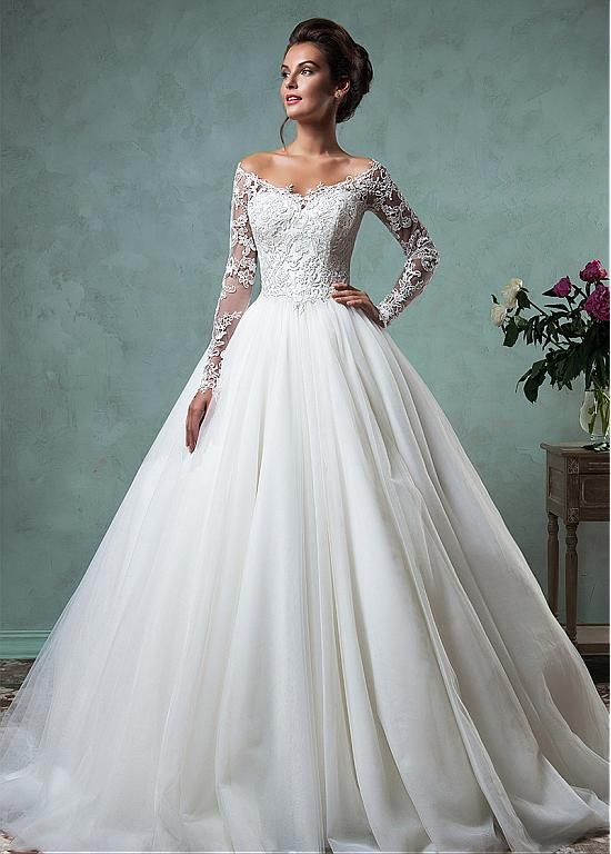Romantic Tulle Off-the-shoulder Neckline A-line Wedding Dresses With Lace…