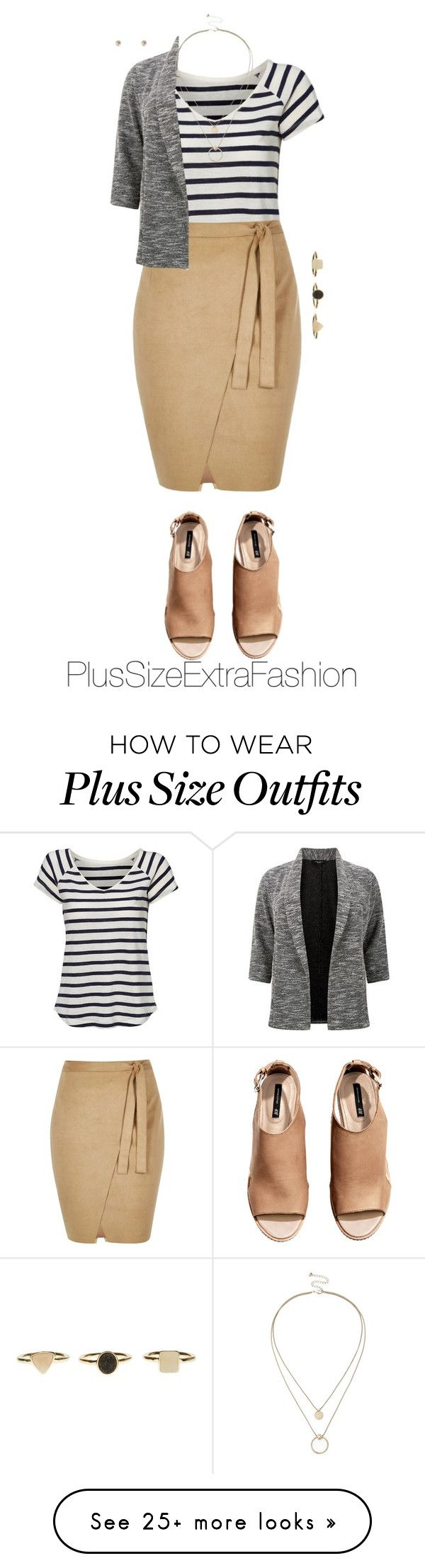 """""""Plus Size Spring Workwear ft. Wrap Skirt and Stripes"""" by plussizeextrafashion on Polyvore featuring Jessica London, River Island, H&M, Sole Society, Forever 21, WorkWear, plussize, spring2016 and plussizeextrafashion"""