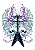 Nation Winged Guitar Skulls Tattoo