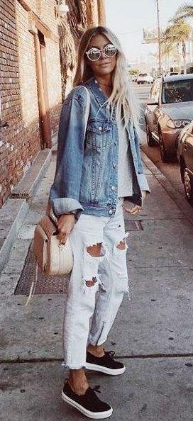 #fall #outfits  women's blue denim button-up jacket