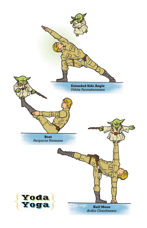 "Just for fun... Yoda Yoga The ""Star Wars"" Guide To Yoga. Diagrams by Rob Osborne."