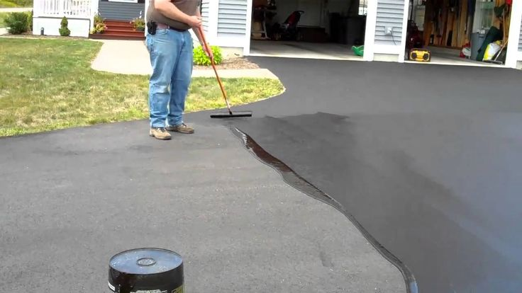 Driveway Sealer Use a scraper with a flat blade to scrape the stripper and concrete sealer in a bag designed for toxic waste. In texturized concrete, use a non-reactive rigid bristled brush to get into the grooves on the surface.