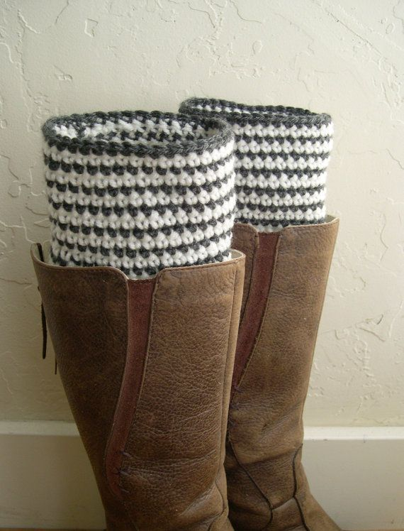 Striped Boot cuffs - beige gray Crochet Boot Toppers - Sailor Leg Warmers - Marinière Striped Toppers - Fashion 2013 - leg warmers
