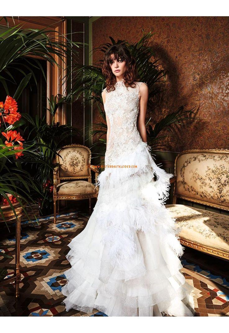 Meerjungfrau Trendige Außergewöhnliche Brautkleider aus Organza mit Applikation