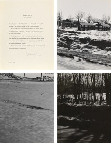 Location Piece #9, New England, March 1969, March 1969. Typewritten statement and eleven gelatin silver prints, statement: 15 3/8 x 13 3/8 inches (39.1 x 34 cm); photographs: 13 3/8 x 11 7/8 inches (34 x 30.2 cm) each.