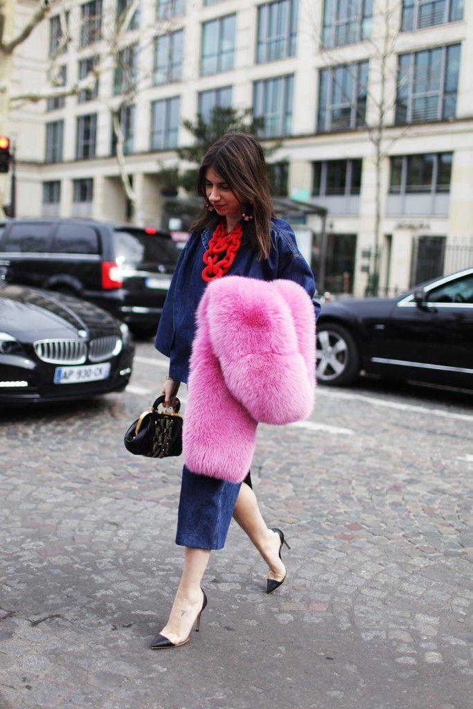 bubble gum pink fur scarf