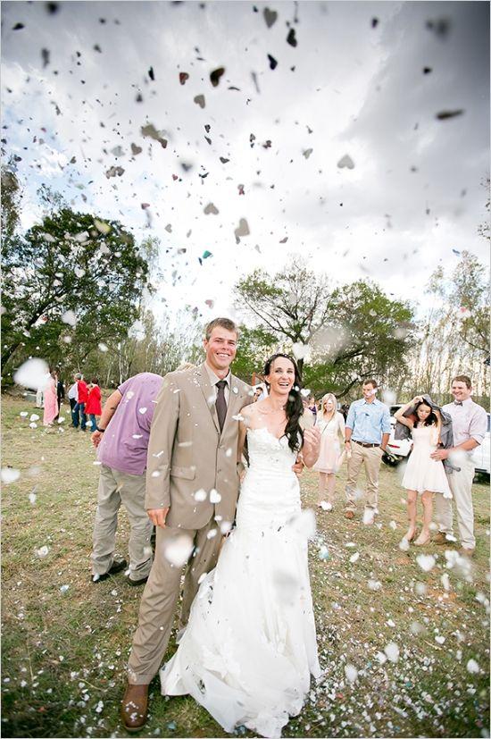heart confetti toss after ceremony #confetti #justmarried #weddingchicks http://www.weddingchicks.com/2014/02/27/south-africa-farm-wedding/