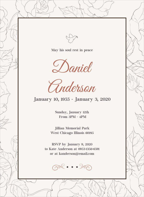 Funeral Invitation Template Free 28 Funeral Invitation Templates