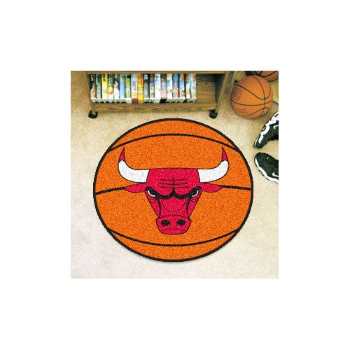 Amazing FANMATS NBA Chicago Bulls Nylon Face Basketball Rug Vibrant True Team  Colors 27 Inches In Diameter Family Friendly   Machine Washable Non Skid  Durable ...