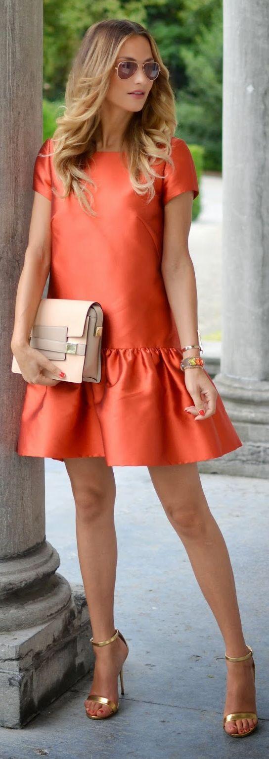 Lima's Wardrobe Orange Twill Little Dress