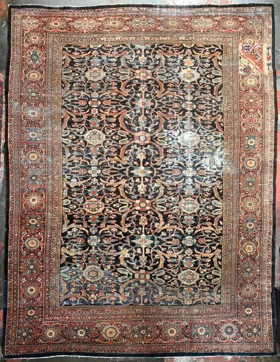 Antique Rug 11x14 Mahal Sultanabad Rug Large Rug Worn Rug C 1890 Rugs Sultanabad Rug Persian