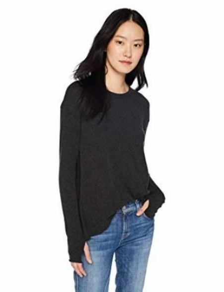 ENZA COSTA Long Sleeve Cashmere Hi Lo Panel Crew Pullover Blouse Charcoal M   178  EnzaCosta  Blouse  Casual a6dc4e151