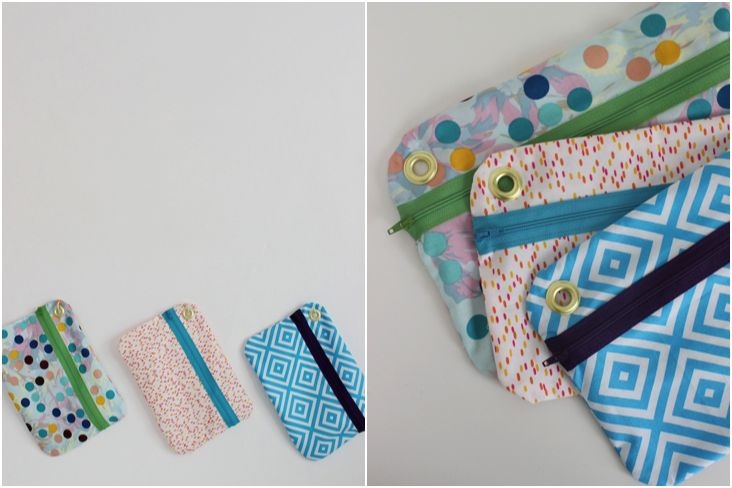 DIY Hanging Zippered Pouches {by Mandy of Fabric Paper Glue}