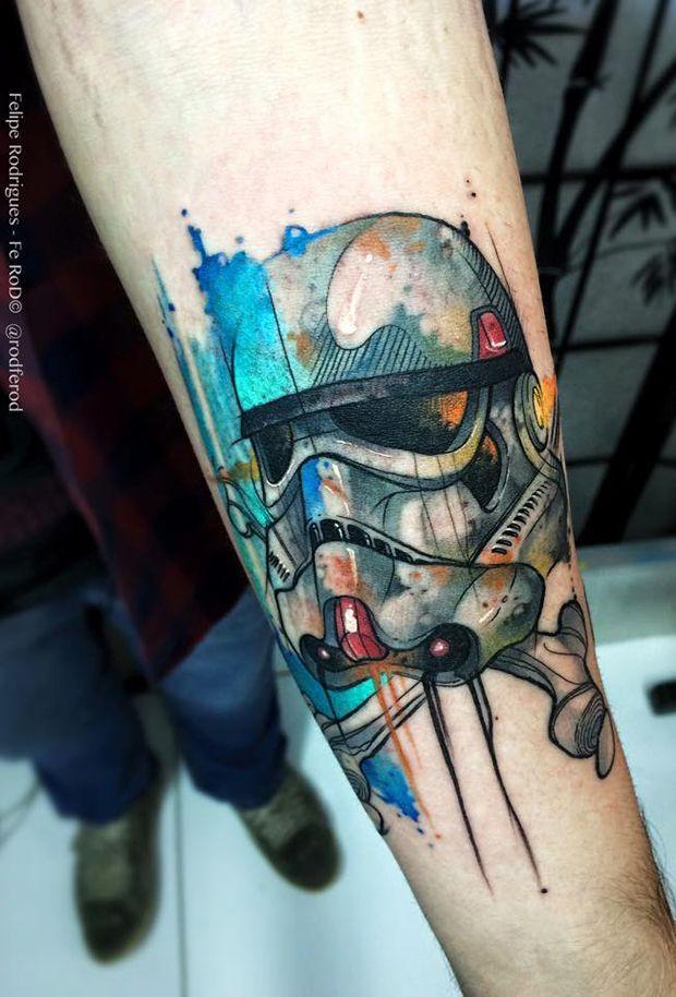 10 Dicas de tatuagens aquareladas para você se inspirar... #starwarstatoo                                                                                                                                                                                 Mais