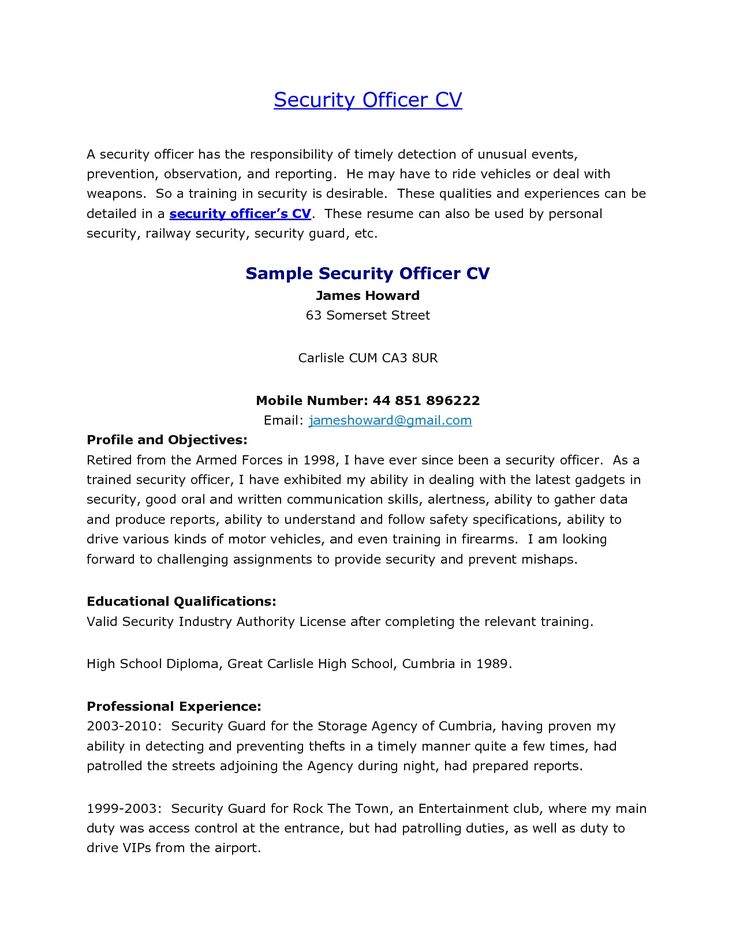example resume best ideas about examples security guard cover - club security officer sample resume
