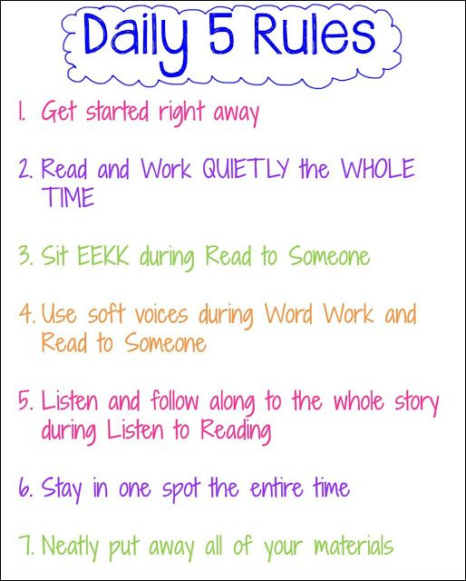 "Exchange all 5 anchor charts and make one into ""Daily 5 Rules"" saves up wall space."