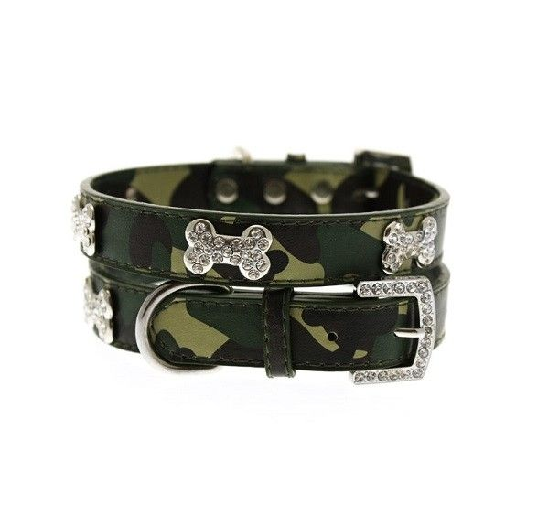 Camouflage Diamante Dog Collar in Green
