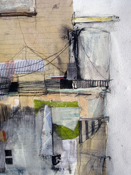 """Seth Clark, """"Fort"""" (detail), collage, oil, colored pencil, pastel, charcoal, graphite on paper"""