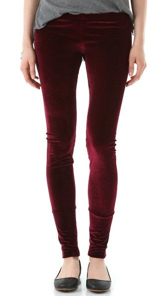 Velvet Vintage Hipster Punk Rock Plain Solid Dark Red Shinny Soft Slim Fit Leggings Tights Autumn Winter Skinny Pants XS-M