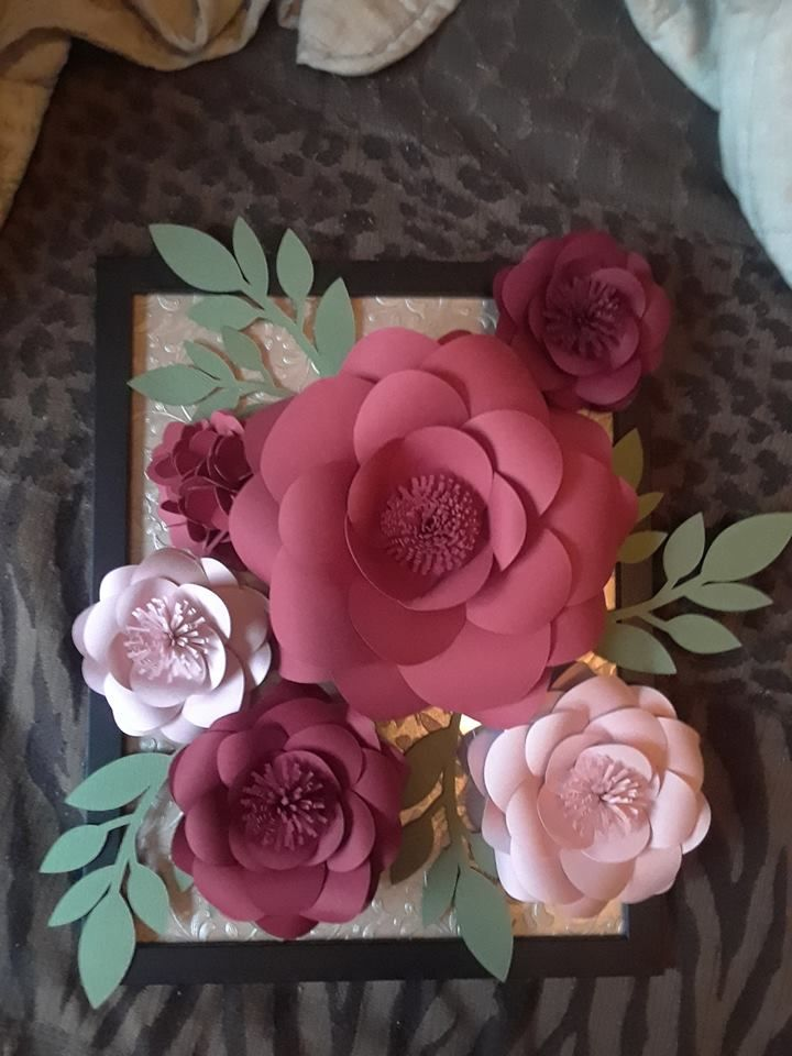 Paper Garden Roses And Hydrangeas With Textured Leaves On Top Of 85