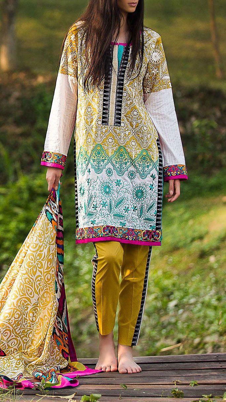 Buy Mehendi Green/White Embroidered Cotton Lawn Dress by Zunn 2016