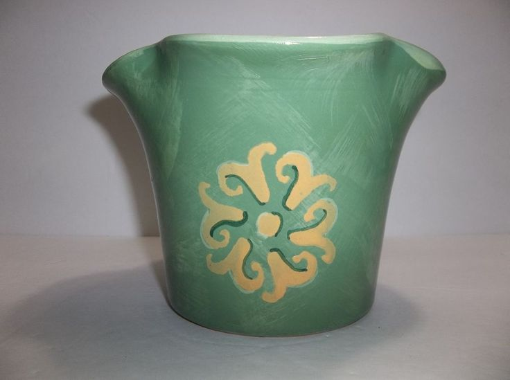 Vintage BIONDA BRUNA Italian Pottery PLANTER Green YELLOW FLOWERS 6.25""