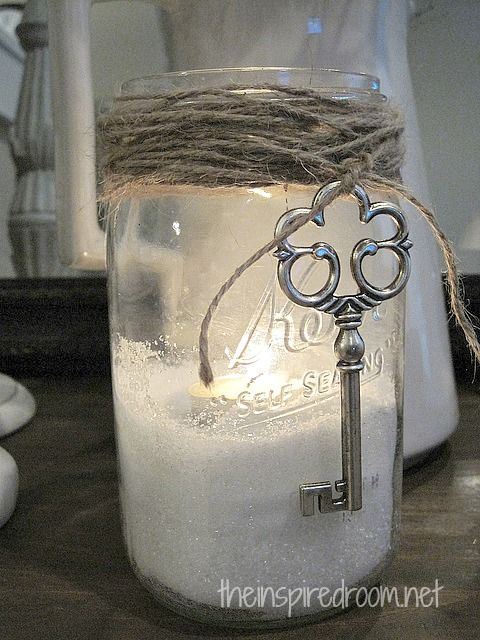 Use Epsom salt as filler in a jar. Place a tealight atop the salt. It will look like a candle sitting in snow . . . fabulous idea for Christmas or even Halloween