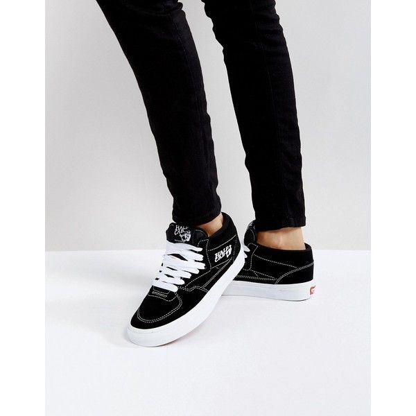 Vans Half Cab Trainers In Black And White (1,650 MXN) ❤ liked on Polyvore featuring shoes, sneakers, black, black high-top sneakers, black and white shoes, black canvas sneakers, retro sneakers and black hi top sneakers