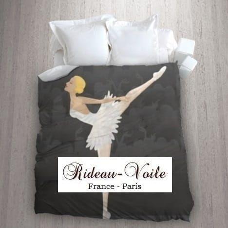 fille housse de couette tissu imprim ballerine danseuse toile gris bl tissu ameublement. Black Bedroom Furniture Sets. Home Design Ideas