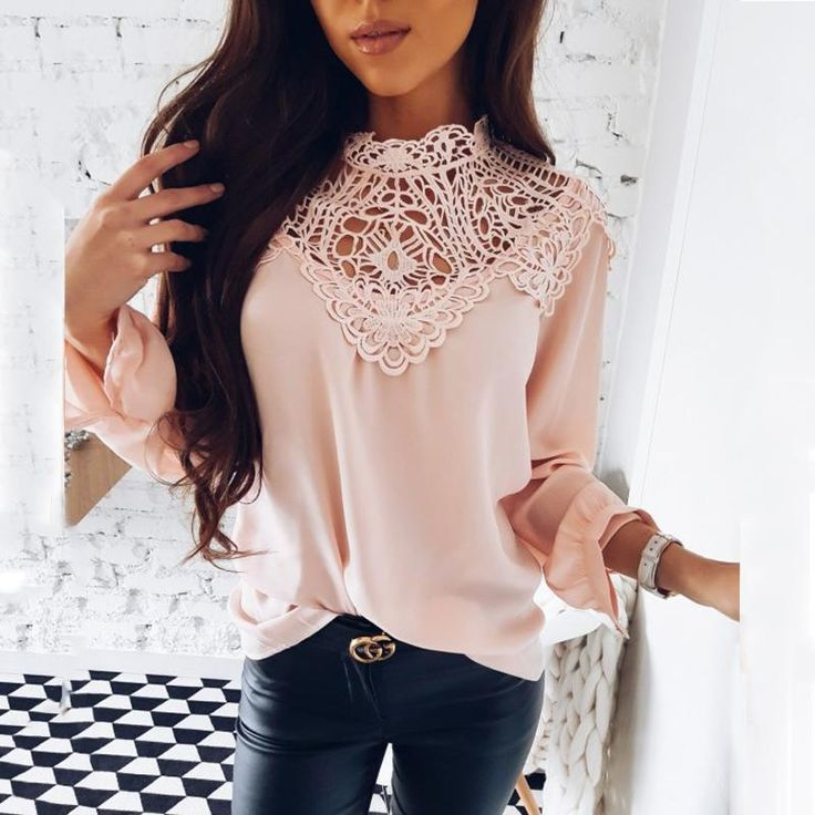 OYDDUP Spring 2018 Ladies New Sweet Hollow Out Flower Blouse Casual Lace Patchwork Tops Long Sleeve Chiffon Shirts  #friends #instagood #fashionlove #fashion #follow #likeforlike #like #amazing #latestfashion #summer