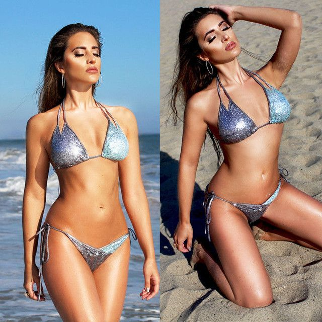 Women Bikini Set Bandage Push Up Padded Bra Swimwear Silver Sequins Swimsuit Bathing Summer Beachwear
