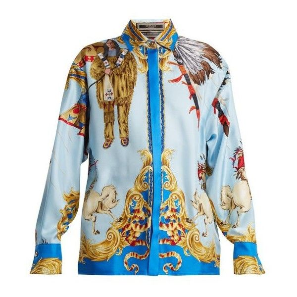 Versace Native American-print silk-twill shirt (41,955 THB) ❤ liked on Polyvore featuring tops, blue print, versace, blue shirt, pattern shirt, mixed print top and native american shirts