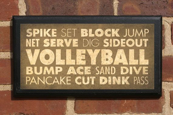 Volleyball Terms Listed on a Vintage Style Wall Plaque / Sign - Decorative Custom Color