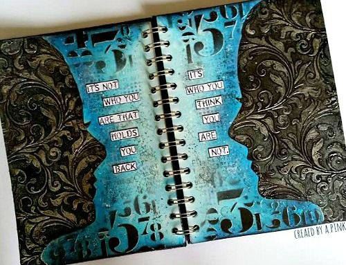 August 2016- Stencil It' Challenge  A Journo spread about 'Self Doubt ' using mainly Tim Holtz products.