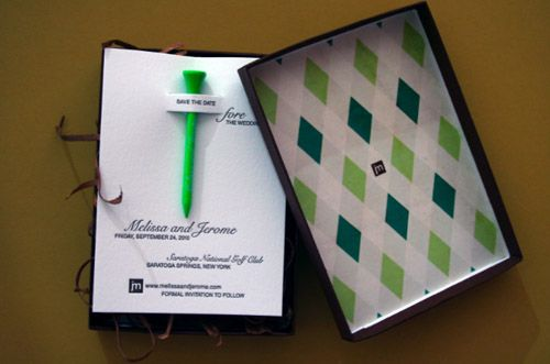 Melissa & Jerome: Golf-themed invites by Melissa DePasquale (via mint design blog)