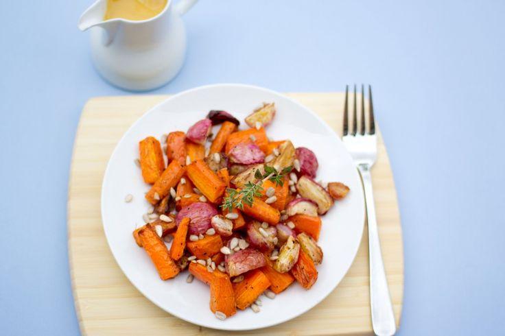 roasted carrot, radish and sunflower seed salad