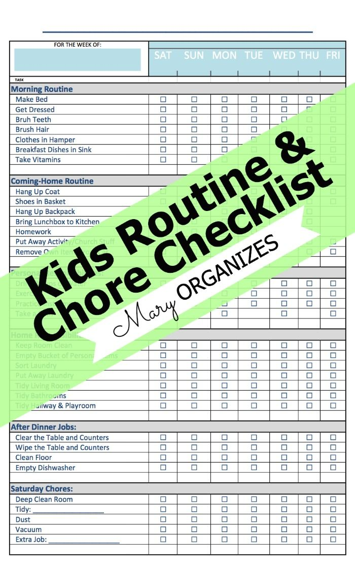 Kids Chores and Routines Checklists