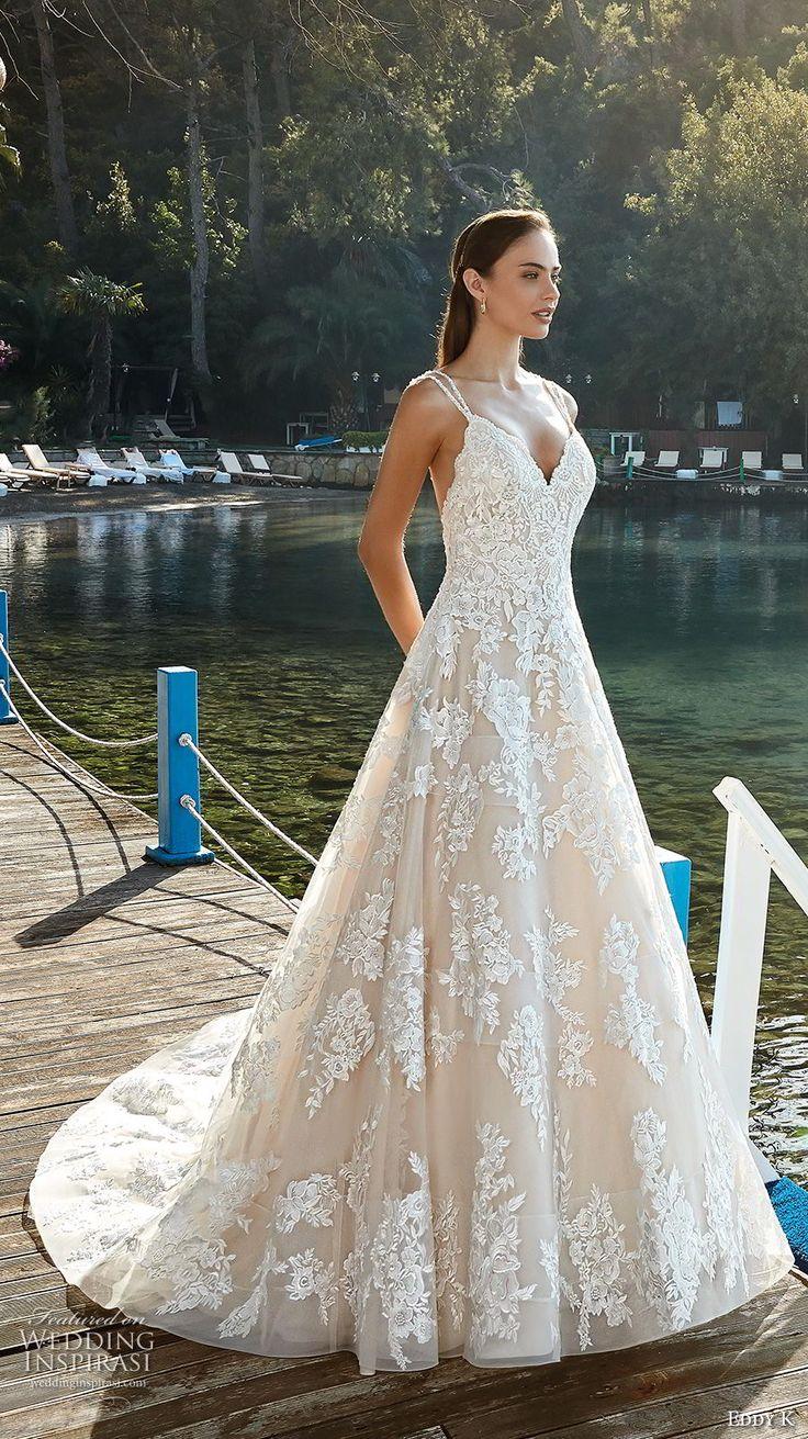 eddy k 2018 bridal double strap sweetheart neckline full embellishment romantic a line wedding dress open back chapel train (16) mv -- Eddy K. Dreams 2019 Wedding Dresses