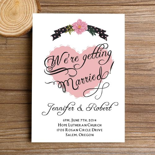 Classic Affordable Blush Pink Heart Wedding Invitations EWI329