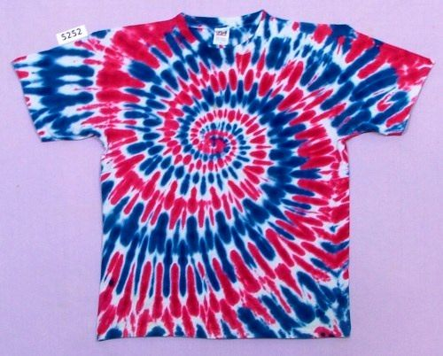Red White Blue Spiral T Shirt Tie Dyed Ombre